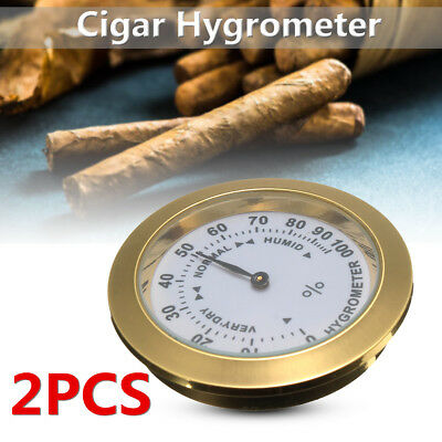 2x Brass Analog Hygrometer Cigar Tobacco Humidity Gauge &Glass Lens For Humidors