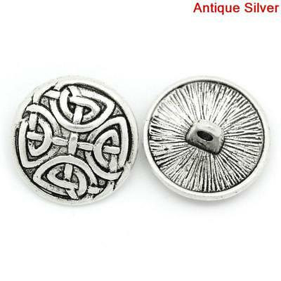 6 Antique Silver Coloured Carved Knot Design Metal Buttons. 17mm.