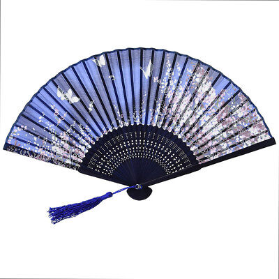 Spanish Style Silk Folding Hand Held Dance Fan Flower Pattern Party Wedding Fan