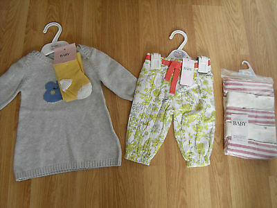 baby GIRL bundle 3-6 months DRESS/TIGHTS/BOTTOMS/MUSLINS M&S Marks & Spencer NWT