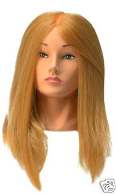 SIBEL Hairdressing Training Head Block SYNTHETIC Long Hair + FREE CLAMP