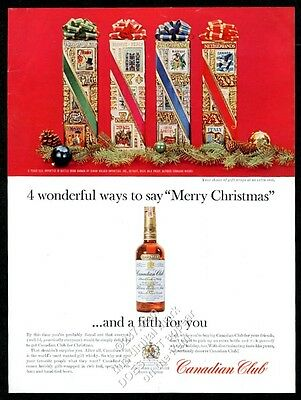 1963 Canadian Club Whisky 4 Christmas gift box designs photo vintage print ad