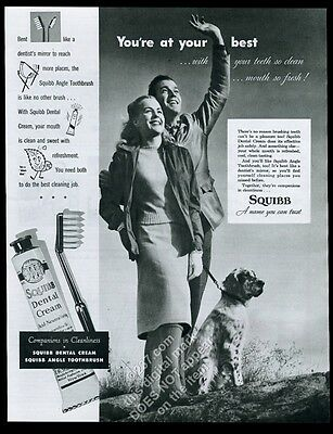 1947 English Setter and young couple photo Squibb dental cream toothpaste ad