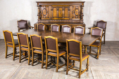 Edwardian Oak Dining Set Sideboard Extending Dining Table And 12 Dining Chairs