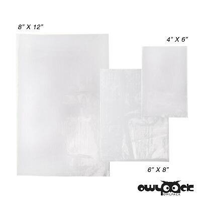 Multi Pack 4x6 6x8 8x12 1.5 mil Owlpack Poly Open End Plastic Bag -100 each size