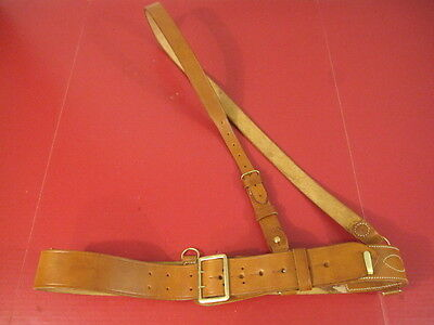 WWI US Army Officer's Leather Sam Brown Browne Belt w/Shoulder Strap Brn - Repro