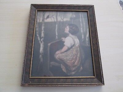 Antique Vintage Simon Glucklich Spring Song Lithograph Print Framed Girl & Bird