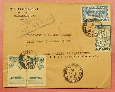1946 Morocco Casablanca Multi Franked Airmail Cover To Usa