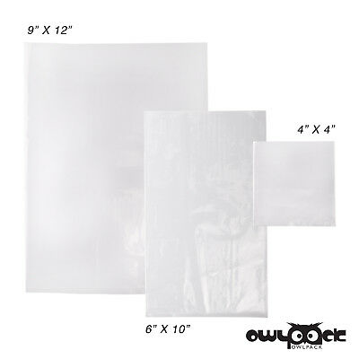 Multi Pack 4x4 6x10 9x12 1.5 mil Owlpack Poly Open End Bag -100 each size