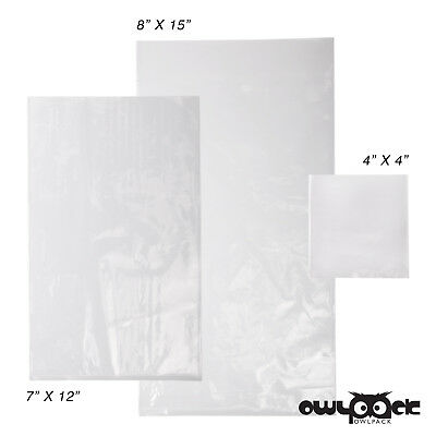 Multi Pack 4x4 7x12 8x15 1.5 mil Owlpack Poly Open End Bag -100 each size