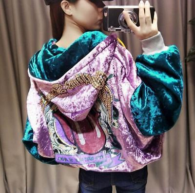 Womens Velvet Multi-color Loose Hooded Coat Short Sequins Studded Casual Jacket
