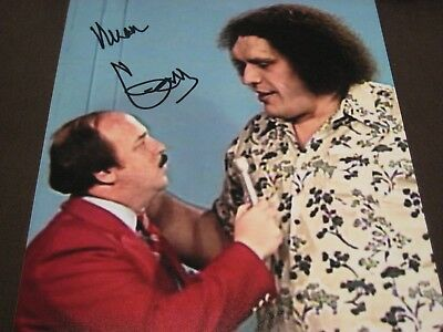 Wrestling Hall Of Famer Mean Gene Okerlund Auto 8X10 W/ Andre The Giant Coa
