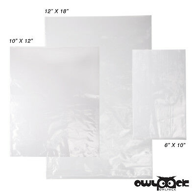 Multi Pack 6x8 10x12 12x18 2 mil Owlpack Poly Open End Plastic Bag-100 each size