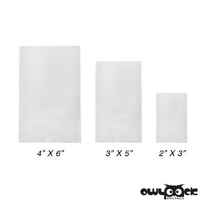 Multi Pack 2x3 3x5 4x6 3 mil Owlpack Poly Open End Plastic Bag-100 each size