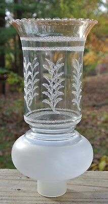 """Vintage 9"""" High White Frosted,Clear and iridescent Amber Glass Lamp Shade"""