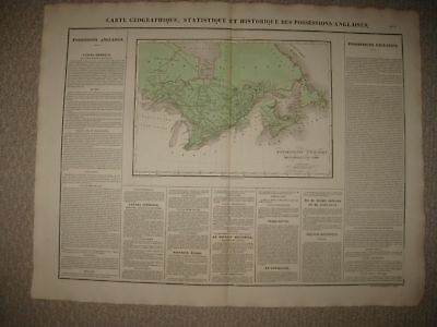 Huge Folio Antique 1825 British Canada Quebec Ontario Carey & Lea Buchon Map Nr