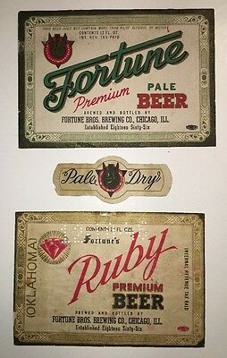 2 Diff Fortune Bros IRTP Beer Label Chicago Illinois Ill Ruby Oklahoma Ok