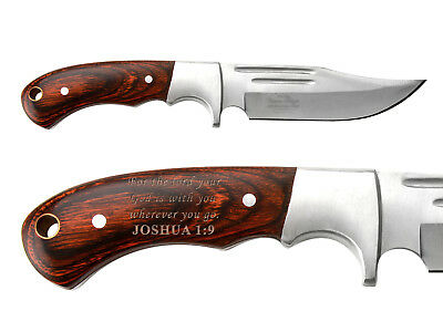 Elk Ridge Knife Hunting Fixed Blade Full Tang Wood ER-052 Bible Joshua 1:9