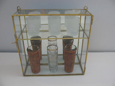 New Petite Glass & Brass CURIO CABINET for small Figurines, Shot Glass Display