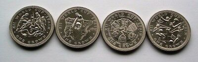 COMPLETE SET OF SPAIN 1982 WORLD CUP ISLE OF MAN CROWNS - 4 x IoM MANX COINS