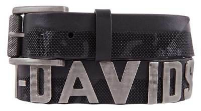Harley-Davidson Men's Textured Metal Font Genuine Leather Belt HDMBT11387-BLK