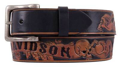 Harley-Davidson Men's Road Serpent Genuine Leather Belt, Black HDMBT11413-BLK