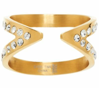 Steel By Design Goldtone Stainless Steel Crystal Open X Ring Size 6