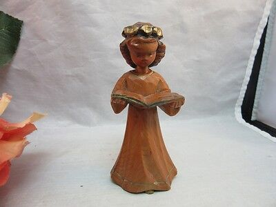 Vtg hand carved wood whittled Xmas angel figurine missing her wings