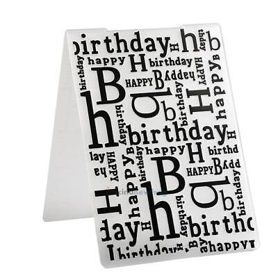 Happy Birthday Letter Word Plastic Embossing Folder for Scrapbook DIY Album Card
