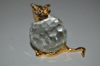 Nice Vintage Small RAT Rodent Mouse Shaped Crystal Glass Ball Figurine Rare