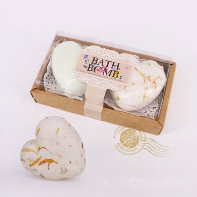 8Pcs Aromatherapy Handmade Heart Bubble Bath Bombs GIFT Fizzies Salt Whitening