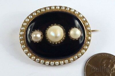 FINE QUALITY ANTIQUE FRENCH 18K GOLD BLUE ENAMEL & NATURAL PEARL BROOCH c1840