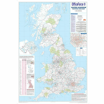 *new* Big Giant Laminated Postcode Wall Poster Map Of Postcodes Area In Uk Gb
