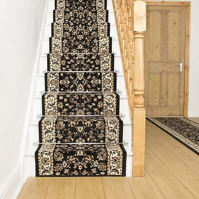 Persian Black - Stair Carpet Runner Narrow Staircase Traditional Quality Cheap