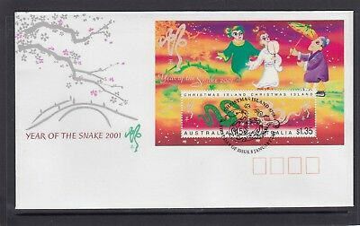 CHRISTMAS IS  2001  Year of the SNAKE MINISHEET  on FDC