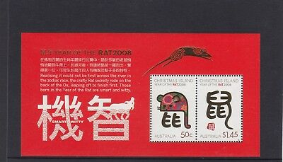 CHRISTMAS IS  2008  Year of the RAT MINISHEET MNH.