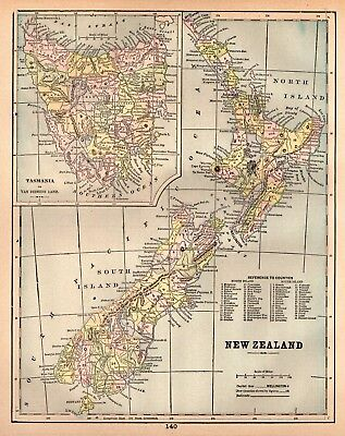 1894 Antique NEW ZEALAND Map   Vintage Collectible 1900s Map of New Zealand 4289