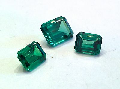 Three Loose Gorgeous Simulated Emeralds - Appraised $300