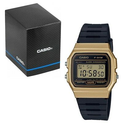 Casio Classic LCD Digital Watch Black and Gold F-91WM-9AEF LCD for Men and Women