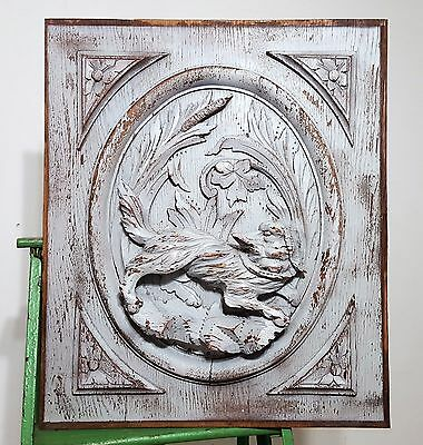 SHABBY HUNTING SCENE PANEL ANTIQUE FRENCH HAND CARVED WOOD OAK PANELLING 19 th