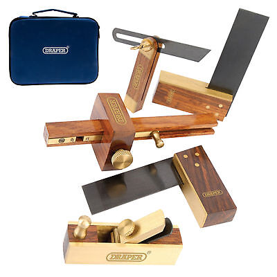 Draper Mini Woodwork Set Wood/Brass Plane, Gauge, Sliding Bevel, Squares (5 Pce)