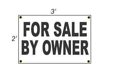 2x3 FOR SALE BY OWNER Black & White Banner Sign NEW Discount Size & Price