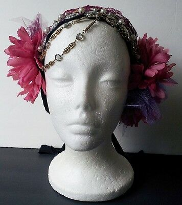 Headpiece - Simple Tribal Hippie Boho Bellydance Burgundy, Pink, Purple Lace