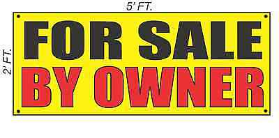 FOR SALE BY OWNER Banner Sign Yellow with Red & Black