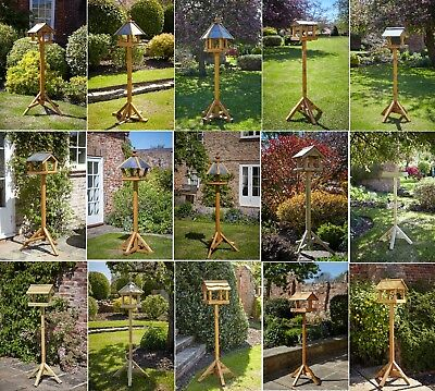 Tom Chambers Bird Tables - Garden Wooden Slate & Wood Roof Feeding Station