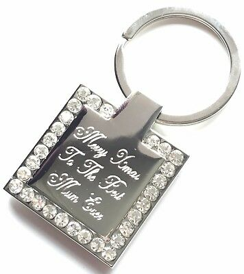 Personalised Engraved Merry Xmas To The Best Mum Ever Diamante Keyring