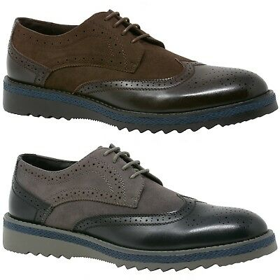 "Alpine Swiss Alec Men's Wingtip Shoes 1.5"" Ripple Sole Leather Insole & Lining"