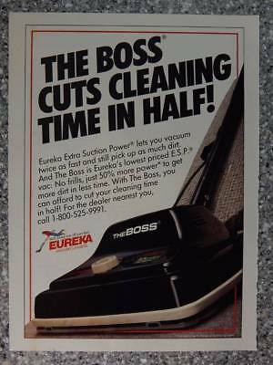1990 Eureka Vacuum Cleaners - Vintage Magazine Ad Page - The Boss Vacuums