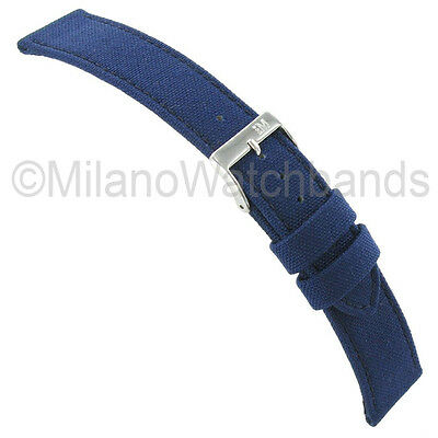 22mm Morellato Padded Stitched Genuine Cordura Canvas Navy Blue Watch Band