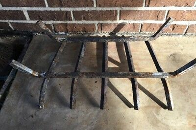Vintage Rusty 24 Inch Steel Metal Cast Iron Fireplace Grate Log Holder Basket